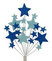 Bright star Christmas cake topper decoration in shades of blue - free postage
