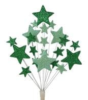 Bright star Christmas cake topper decoration in shades of green - free postage