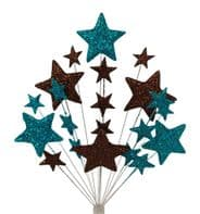 Bright star Christmas cake topper decoration in teal and choc - free postage