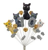Cats 70th birthday cake topper decoration - colours as shown - free postage