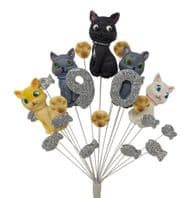 Cats 90th birthday cake topper decoration - colours as shown - free postage