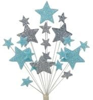 Christening cake topper decoration in pale blue and silver - free postage