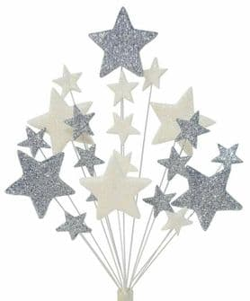 Christening cake topper decoration in silver and white - free postage
