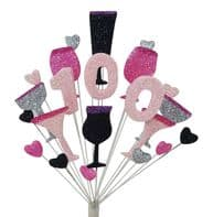 Cocktails 100th birthday cake topper decoration in shades of pink, black and silver - free postage