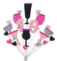 Cocktails 18th birthday cake topper decoration - free postage