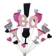 Cocktails 80th birthday cake topper decoration in shades of pink, black & silver - free postage