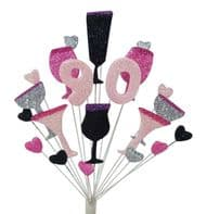 Cocktails 90th birthday cake topper decoration in shades of pink, black and silver - free postage