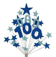 Dad 100th birthday cake topper decoration in shades of blue - free postage