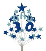 Dad 30th birthday cake topper decoration in shades of blue - free postage