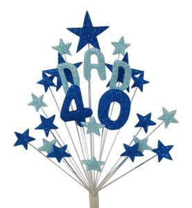 Dad 40th birthday cake topper decoration in shades of blue - free postage
