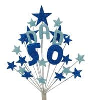 Dad 50th birthday cake topper decoration in shades of blue - free postage