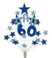 Dad 60th birthday cake topper decoration in shades of blue - free postage