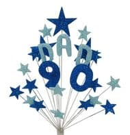 Dad 90th birthday cake topper decoration in shades of blue - free postage