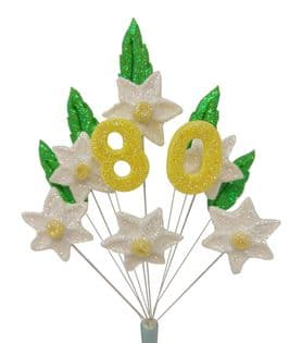 Daffodil/Narcissus 80th birthday cake topper decoration - colours as shown - free postage
