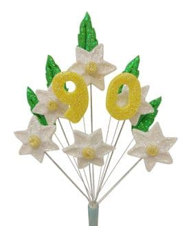 Daffodil narcissus 90th birthday cake topper decoration - free postage