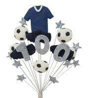 Football 100th birthday cake topper decoration blue shirt - free postage