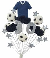 Football 30th birthday cake topper decoration blue shirt - free postage