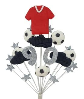 Football 90th birthday cake topper decoration red shirt - free postage