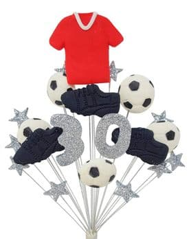 Footballer 30th birthday cake topper decoration red shirt - free postage