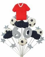 Footballer 60th birthday cake topper decoration red shirt - free postage