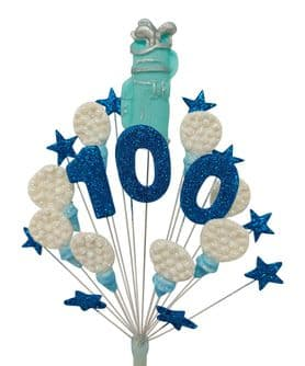 Golf 100th birthday cake topper decoration in blue and white - free postage