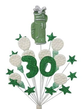 Golfer 30th birthday cake topper decoration in green and white - free postage