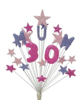 Mum 30th birthday cake topper decoration in pinks and lilac - free postage
