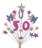 Mum 50th birthday cake topper decoration in shades of pink and lilac - free postage