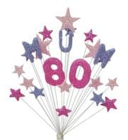 Mum 80th birthday cake topper decoration in shades of pink and lilac - free postage