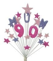 Mum 90th birthday cake topper decoration in shades of pink and lilac - free postage