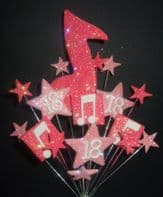 Music notes 18th birthday cake topper in shades of pink - free postage