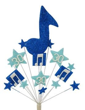 Music notes 30th birthday cake topper decoration in shades of blue - free postage