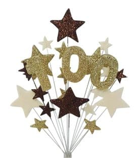 Number age 100th birthday cake topper decoration in choc, gold and cream - free postage