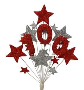 Number age 100th birthday cake topper decoration in red and silver - free postage