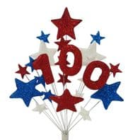Number age 100th birthday cake topper decoration in red, white and blue - free postage