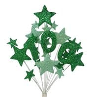 Number age 100th birthday cake topper decoration in shades of green - free postage