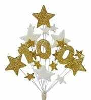 Number age 100th birthday cake topper in gold and white - free postage