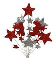 Number age 13th birthday cake topper decoration in red and silver - free postage