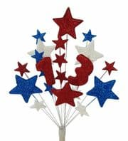 Number age 13th birthday cake topper decoration in red, white and blue - free postage