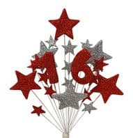 Number age 16th birthday cake topper decoration in red and silver - free postage