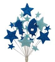 Number age 16th birthday cake topper decoration in shades of blue - free postage