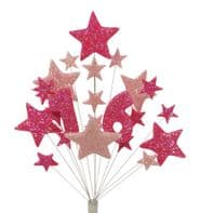 Number Age 16th birthday cake topper decoration in shades of pink - free postage