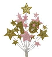 Number age 18th birthday cake topper decoration in gold and pale pink - free postage