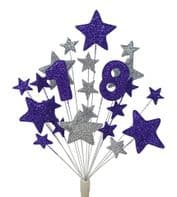 Number age 18th birthday cake topper decoration in purple and silver - free postage