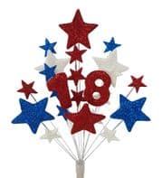 Number age 18th birthday cake topper decoration in red, white and blue - free postage