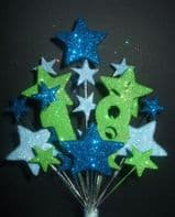 Number age 18th birthday cake topper decoration in shades of blue and lime - free postage