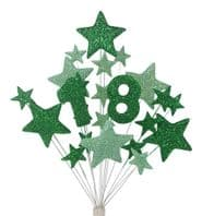 Number age 18th birthday cake topper decoration in shades of green - free postage