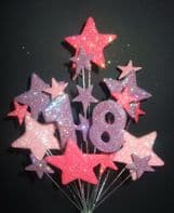 Number age 18th birthday cake topper decoration in shades of pink and lilac - free postage