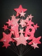 Number age 18th birthday cake topper decoration in shades of pink - free postage