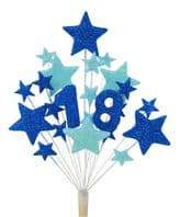 Number age 18th birthday cake topper in shades of blue - free postage